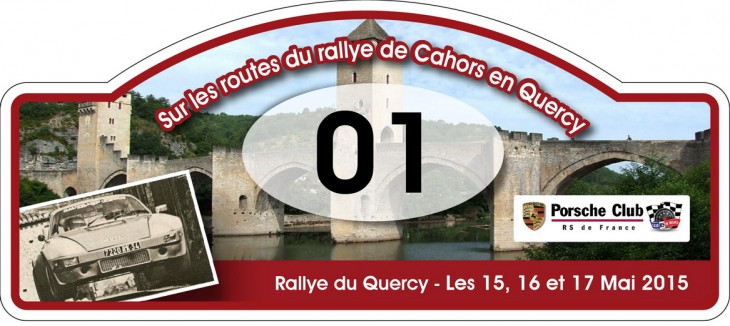 Plaque RALLY DU QUERCY MAI 2015